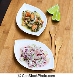 Fish and Shellfish Ceviche - Fish and shellfish ceviche raw...