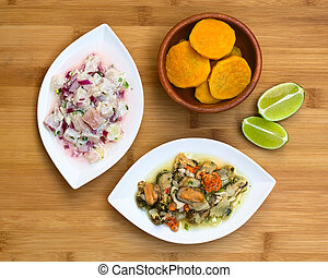 Fish and Shellfish Ceviche - Overhead shot of fish and...