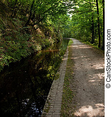 Wide walkway besides still deep canal - Canal cut out of the...