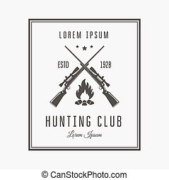 Hunting club - Vector vintage logo or emblem for the hunting...
