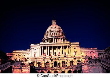 建物, 国会議事堂, ワシントン, DC, 私達, 夜
