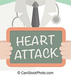 Heart Attack - minimalistic illustration of a doctor holding...