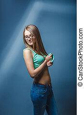 European-looking girl of twenty years in glasses bared...