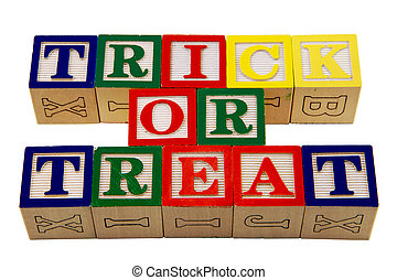 Trick or Treat blocks - New alphabet colored wood blocks...