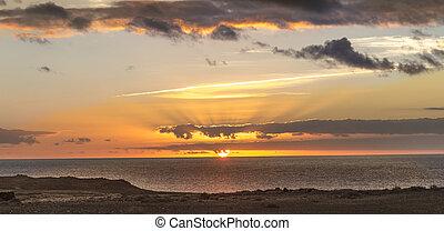 romantic sunset in Janubio on the island of Lanzarote
