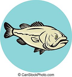 Largemouth Bass Fish Side Circle Cartoon - Illustration of a...