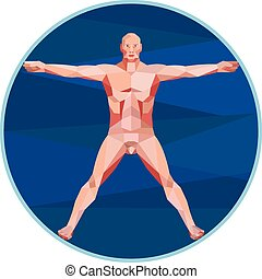 Da Vinci Man Anatomy Low Polygon - Low Polygon style...