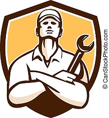 Mechanic Arms Crossed Wrench Shield Retro - Illustration of...