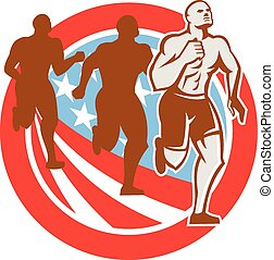 American Crossfit Runners USA Flag Circle Retro