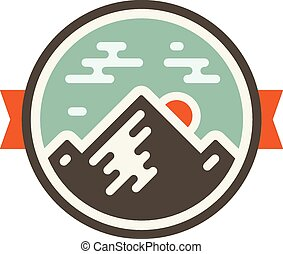 Mountain badge - Round mountain badge icon with orange...