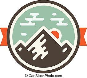 Mountain badge - Round mountain badge icon with orange...