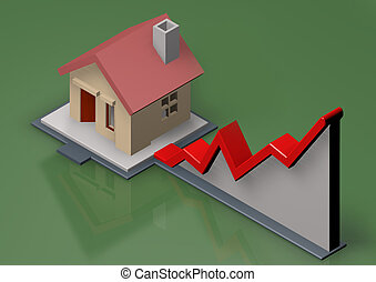 home and graphic - illustration of growth chart housing...