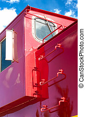 Detail of Train Caboose - Detail of red train caboose...