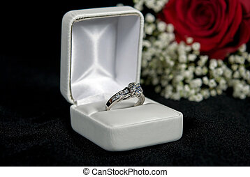 Promise Ring - Diamond ring in box on black velvet.