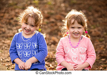 Identical Twins Lifestyle Portrait - Lifestyle portrait of...