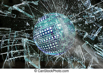 High Tech Ball Going Through Glass. - High tech circuit ball...