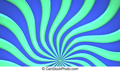 Abstract Green Wave On Blue