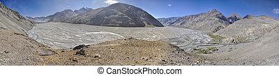 Tajikistan panorama - Scenic panorama of valley on arid...