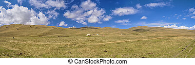Yurts in Kyrgyzstan - Scenic panorama of green grasslands in...