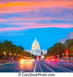 Capitol sunset Pennsylvania Ave Washington DC - Capitol...