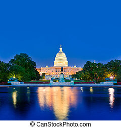edificio, capitolio, congreso,  Washington, CC, ocaso