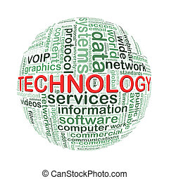 Wordcloud word tags ball of technology