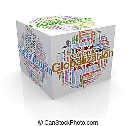 3d cube word tags wordcloud of globalization