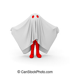 3d red man in ghost costume