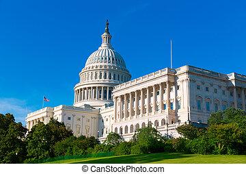 capitolio, edificio, Washington, CC, luz del sol,...