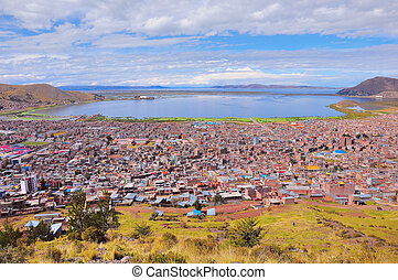 Breathtaking view of Puno by Titicaca lake.