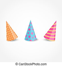 Party hat - Vector party hat with shadow isolated on a white...