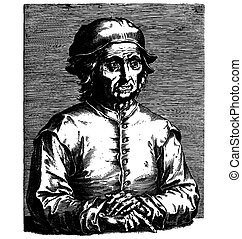 Hieronymus Bosch - Etching portrait, vector drawing of...