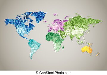 World map Low poly - World Map - Modern elements of info...