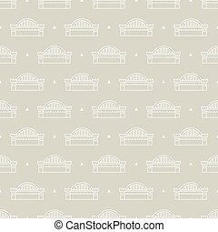 bridge pattern - Seamless pattern with bridge over the river...