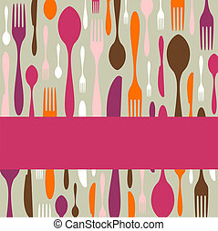 Cutlery pattern invitation - Food, restaurant, menu design...
