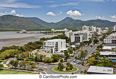 aerial view Cairns QLD - aerial view of tropical city of...
