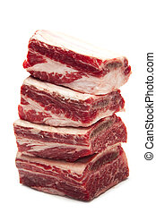 Beef Short Ribs on White Background