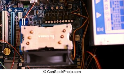 Close up of electronic board with components. Computer...