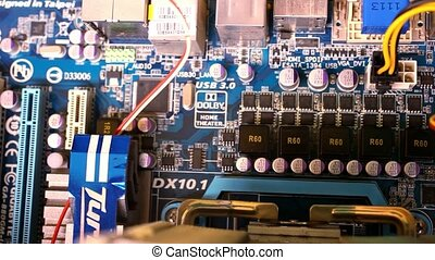 Close up of computer main board Macro video shift motion -...