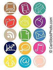 Office Equipment Round Vector Icon Set - Round vector icon...