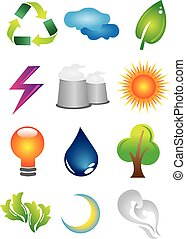 2D Environmental Conservation Icons - A set of 2D...
