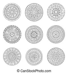 Round ornaments set of doodle mandalas - Round geometric...