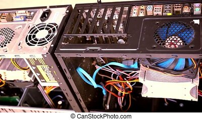 CPU Unit Server Room Data Center. Open the computer case....