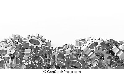 Pile of silver cogwheels isolated on white background
