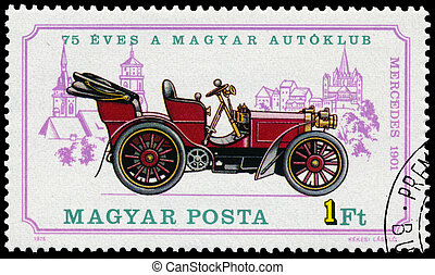 Stamp printed in Hungary shows retro car Mercedes - HUNGARY...