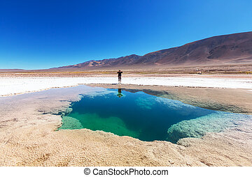 Salinas in Argentina - Ojo del Mar in Argentina Andes is a...