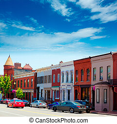 Georgetown historical district facades Washington -...