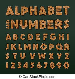 Wooden alphabet and numbers