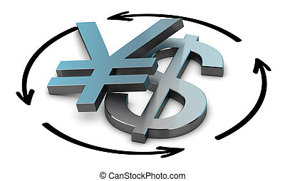 USD JPY Exchange Rate - Euro and Yen symbols with four...