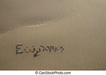 economics co2 greenhouse gas concept written in the sand...